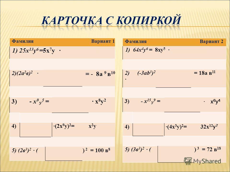Фамилия Вариант 1 1) 25х 13 у 6 =5х 7 у 2)(2а 2 в) 2 = - 8а 9 в 10 3) - х 9 У 5 = х8у2 х8у2 4) (2х 9 у) 2 =х2ух2у 5) (2в 3 ) 2 () 2 = 100 в 8 Фамилия Вариант 2 1) 64х 4 у 6 = 8ху 5 2) (-3аb 3 ) 2 = 18а в 11 3) - х 15 У 9 = х 6 у 4 4) (4х 3 у) 2 = 32х