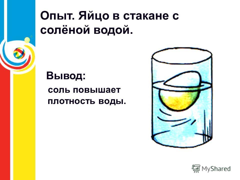 Опыт. Яйцо в стакане с солёной водой. Вывод: соль повышает плотность воды.