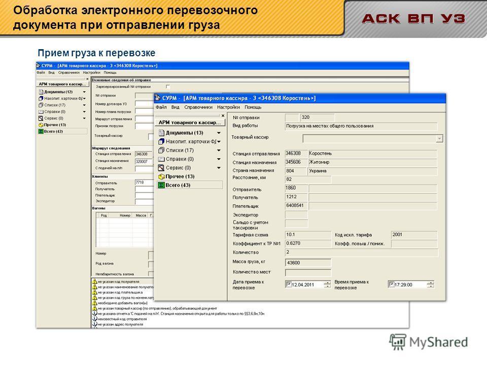 Прием груза к перевозке Обработка электронного перевозочного документа при отправлении груза