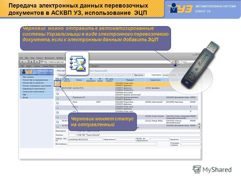 Передача электронных данных перевозочных документов в АСКВП УЗ, использование ЭЦП Черновик можно отправить в автоматизированные системы Укрзализныци в виде электронного перевозочного документа, если к электронным данным добавить ЭЦП Черновик меняет с