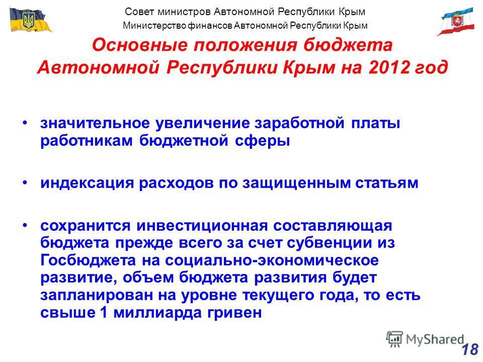 Совет министров Автономной Республики Крым Министерство финансов Автономной Республики Крым 18 Основные положения бюджета Автономной Республики Крым на 2012 год значительное увеличение заработной платы работникам бюджетной сферы индексация расходов п
