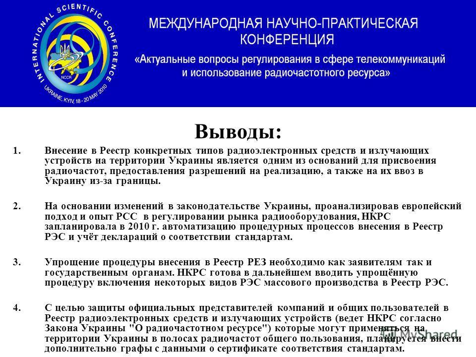 Выводы: 1.Внесение в Реестр конкретных типов радиоэлектронных средств и излучающих устройств на территории Украины является одним из оснований для присвоения радиочастот, предоставления разрешений на реализацию, а также на их ввоз в Украину из-за гра
