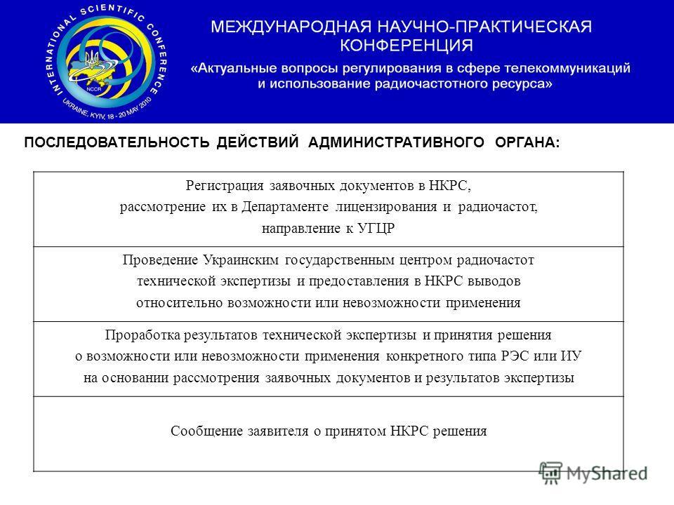 Послідовність дій адміністративного органу : Регистрация заявочных документов в НКРС, рассмотрение их в Департаменте лицензирования и радиочастот, направление к УГЦР Проведение Украинским государственным центром радиочастот технической экспертизы и п