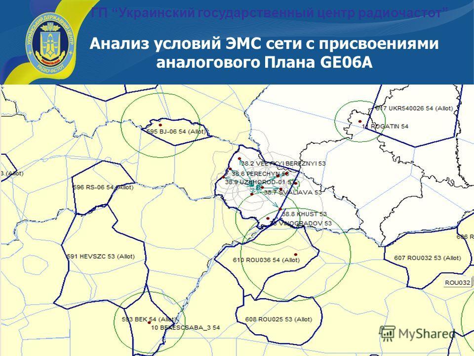 29 Анализ условий ЭМС сети с присвоениями аналогового Плана GE06А ГП Украинский государственный центр радиочастот