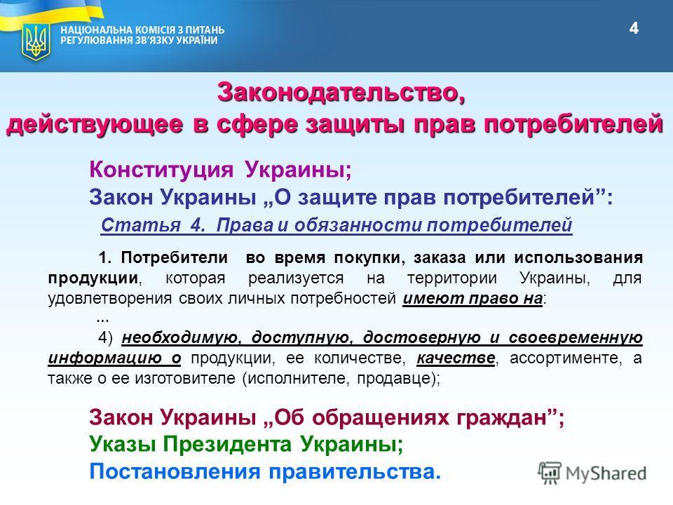 Конституция Украины; Закон Украины О защите прав потребителей: Закон Украины Об обращениях граждан; Указы Президента Украины; Постановления правительства. Законодательство, Законодательство, действующее в сфере защиты прав потребителей действующее в