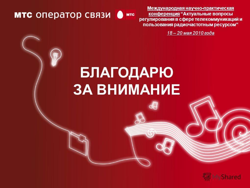 БЛАГОДАРЮ ЗА ВНИМАНИЕ Международная научно-практическая конференция Актуальные вопросы регулирования в сфере телекоммуникаций и пользования радиочастотным ресурсом 18 – 20 мая 2010 года