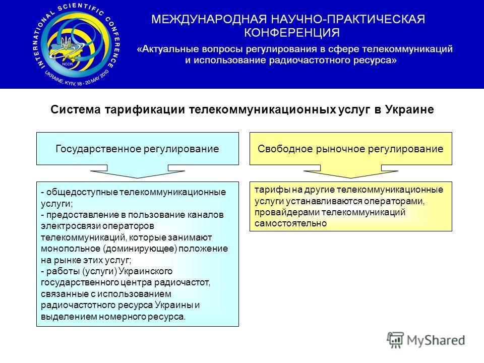 Система тарификации телекоммуникационных услуг в Украине Государственное регулированиеСвободное рыночное регулирование - общедоступные телекоммуникационные услуги; - предоставление в пользование каналов электросвязи операторов телекоммуникаций, котор