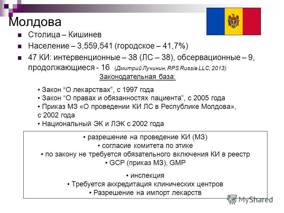 Молдова Столица – Кишинев Население – 3,559,541 (городское – 41,7%) 47 КИ: интервенционные – 38 (ЛС – 38), обсервационные – 9, продолжающиеся - 16 (Дмитрий Лучинин, RPS Russia LLC, 2013) Законодательная база: Закон О лекарствах, с 1997 года Закон О п