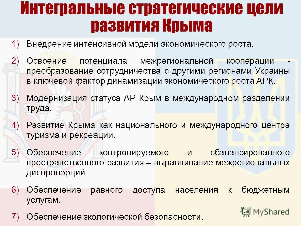 Интегральные стратегические цели развития Крыма 1)Внедрение интенсивной модели экономического роста. 2)Освоение потенциала межрегиональной кооперации - преобразование сотрудничества с другими регионами Украины в ключевой фактор динамизации экономичес