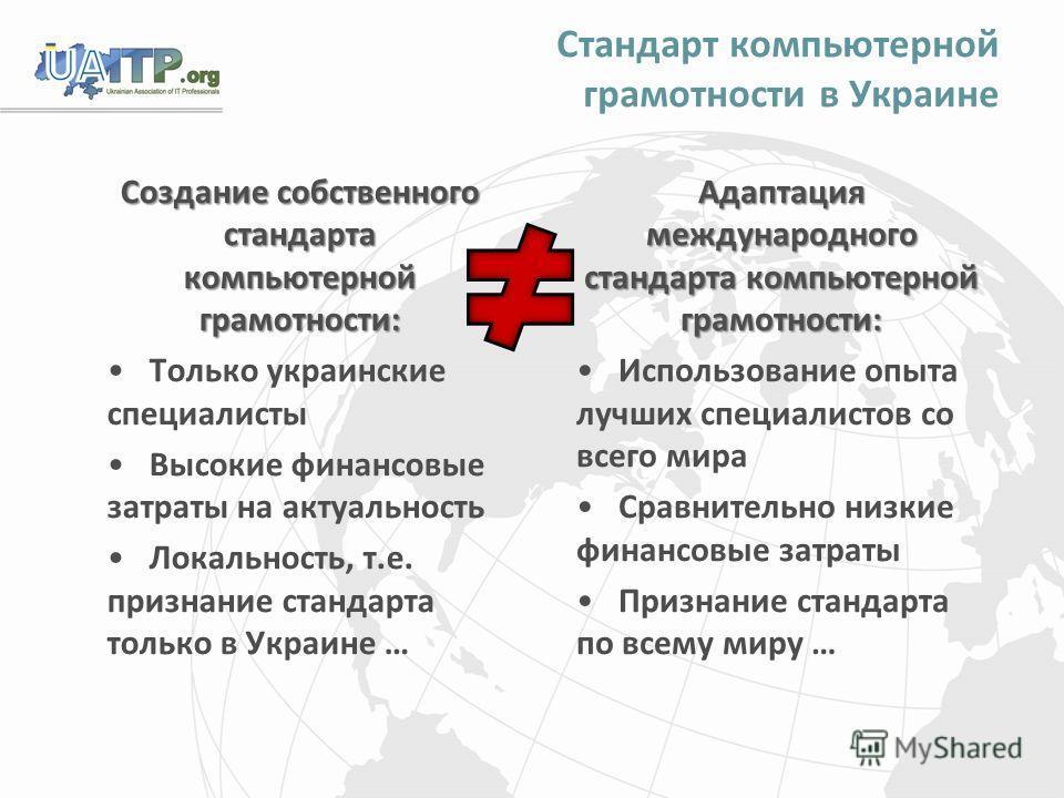 Стандарт компьютерной грамотности в Украине Создание собственного стандарта компьютерной грамотности: Только украинские специалисты Высокие финансовые затраты на актуальность Локальность, т.е. признание стандарта только в Украине … Адаптация междунар