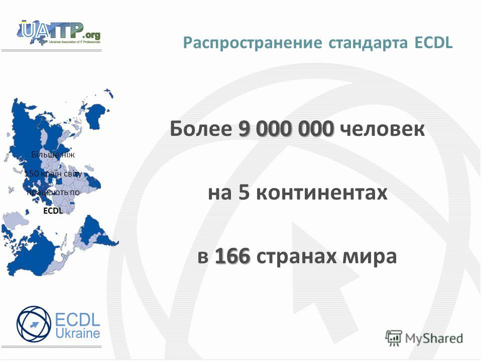 Распространение стандарта ECDL Більше ніж 150 країн світу працюють поECDL 9 000 000 Более 9 000 000 человек на 5 континентах 166 в 166 странах мира