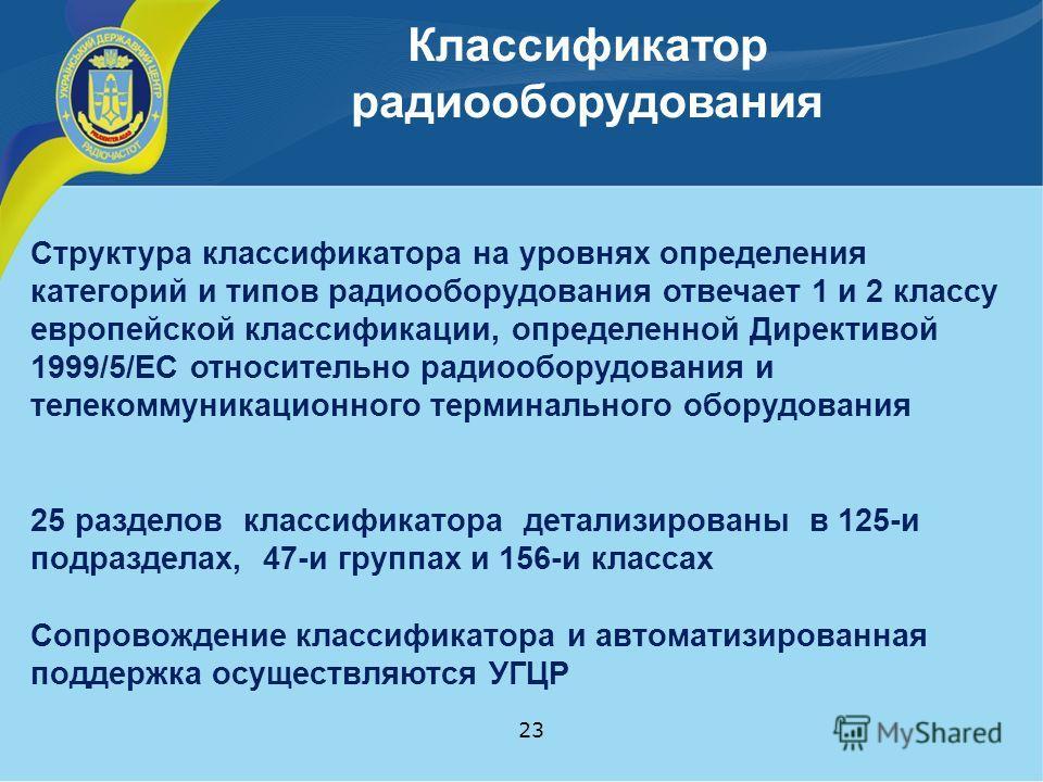 Классификатор радиооборудования 23 Структура классификатора на уровнях определения категорий и типов радиооборудования отвечает 1 и 2 классу европейской классификации, определенной Директивой 1999/5/EC относительно радиооборудования и телекоммуникаци