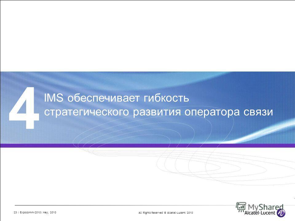 All Rights Reserved © Alcatel-Lucent 2010 23 | Expocomm-2010| May, 2010 4 IMS обеспечивает гибкость стратегического развития оператора связи