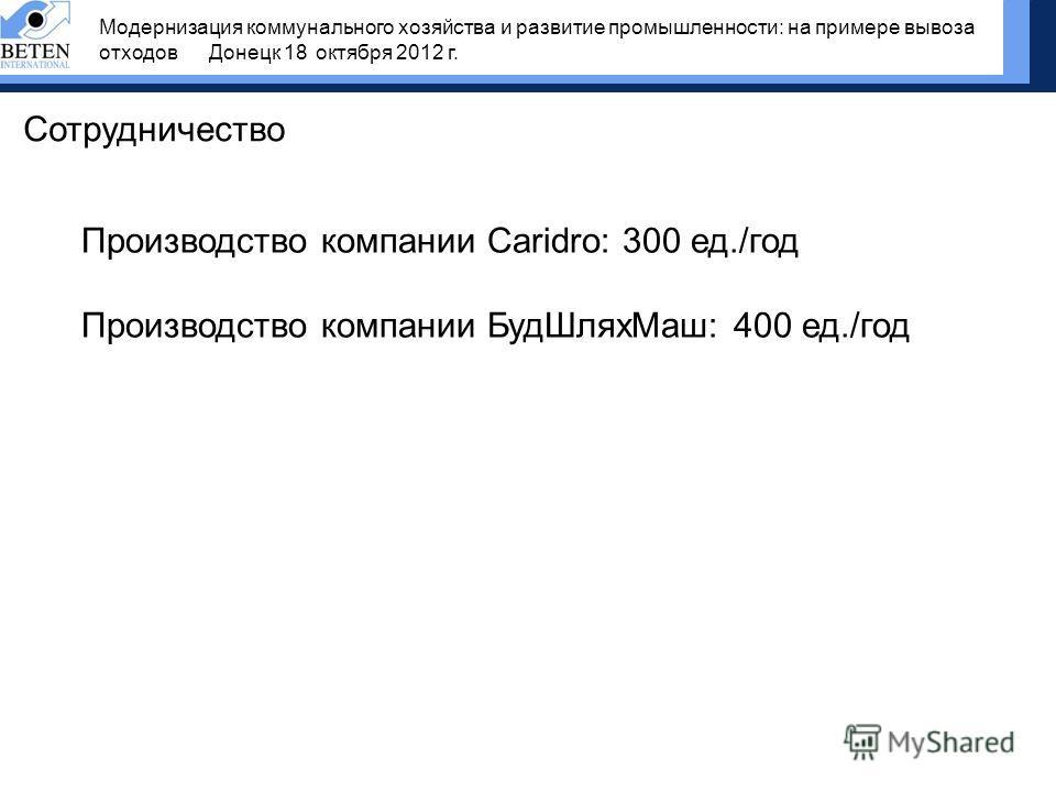 Сотрудничество Производство компании Caridro: 300 ед./год Производство компании БудШляхМаш: 400 ед./год Модернизация коммунального хозяйства и развитие промышленности: на примере вывоза отходов Донецк 18 октября 2012 г.