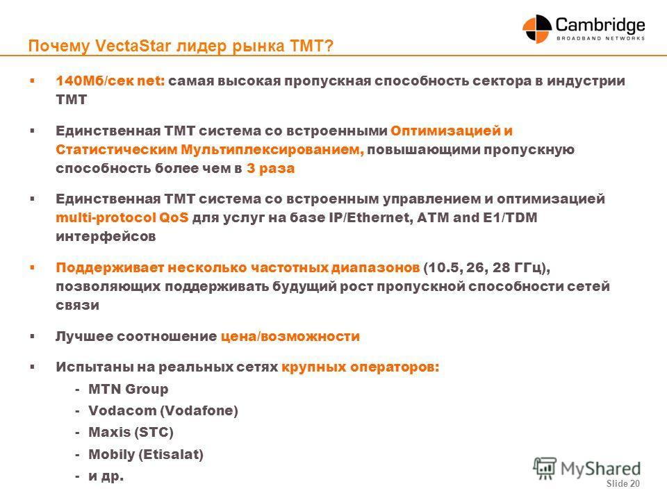 Slide 20 Почему VectaStar лидер рынка ТМТ? 140Mб/сек net: самая высокая пропускная способность сектора в индустрии ТМТ Единственная ТМТ система со встроенными Оптимизацией и Статистическим Мультиплексированием, повышающими пропускную способность боле