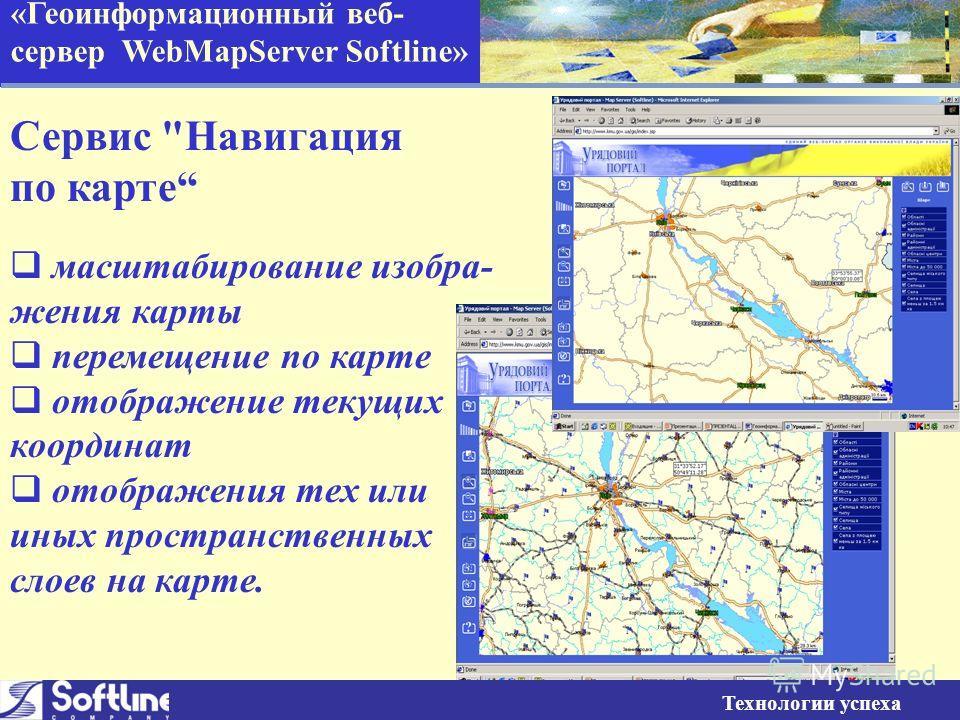 «Геоинформационный веб- сервер WebMapServer Softline» Сервис Навигация по карте масштабирование изобра- жения карты перемещение по карте отображение текущих координат отображения тех или иных пространственных слоев на карте. Технологии успеха