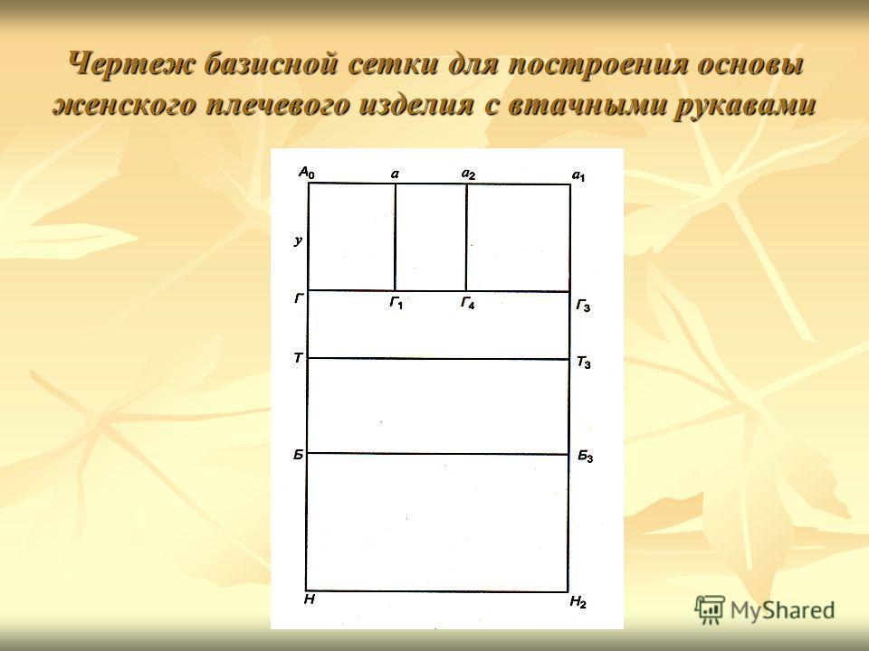 Чертеж базисной сетки для построения основы женского плечевого изделия с втачными рукавами