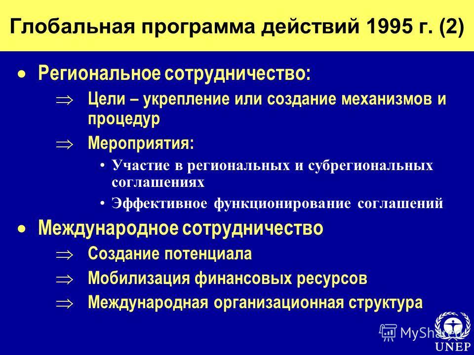 Глобальная программа действий 1995 г. (2) Региональное сотрудничество: Цели – укрепление или создание механизмов и процедур Мероприятия: Участие в региональных и субрегиональных соглашениях Эффективное функционирование соглашений Международное сотруд