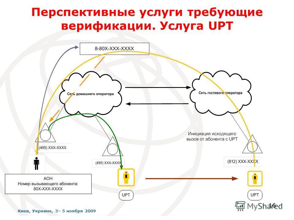 16 Перспективные услуги требующие верификации. Услуга UPT Киев, Украина, 3– 5 ноября 2009