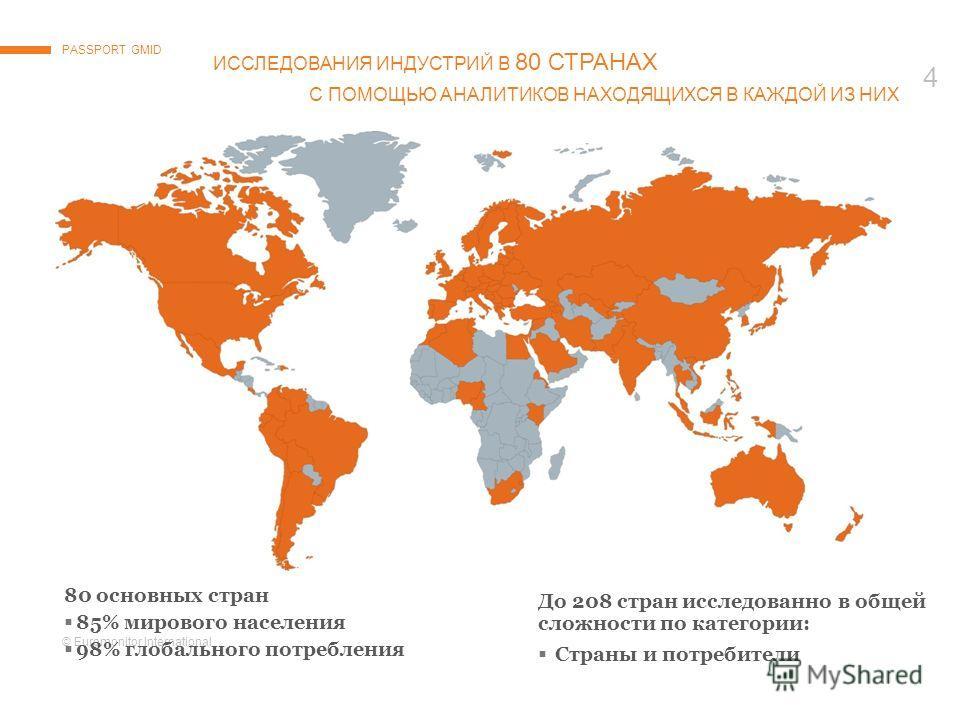 © Euromonitor International 4 ИССЛЕДОВАНИЯ ИНДУСТРИЙ В 80 СТРАНAX С ПОМОЩЬЮ АНАЛИТИКОВ НАХОДЯЩИХСЯ В КАЖДОЙ ИЗ НИХ PASSPORT GMID 80 основных стран 85% мирового населения 98% глобального потребления До 208 стран исследованно в общей сложности по катег