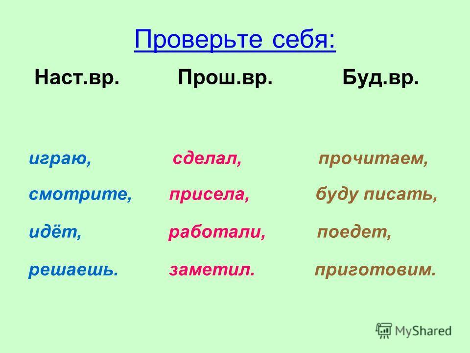 Распределите слова по столбикам: Наст.вр. Прош.вр. Буд.вр. Играю, прочитаем, сделал, присела, буду писать, смотрите, работали, идёт, поедет, заметил, решаешь, приготовим.