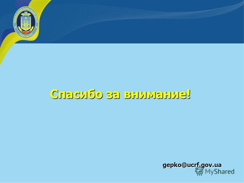 Спасибо за внимание! gepko@ucrf.gov.ua