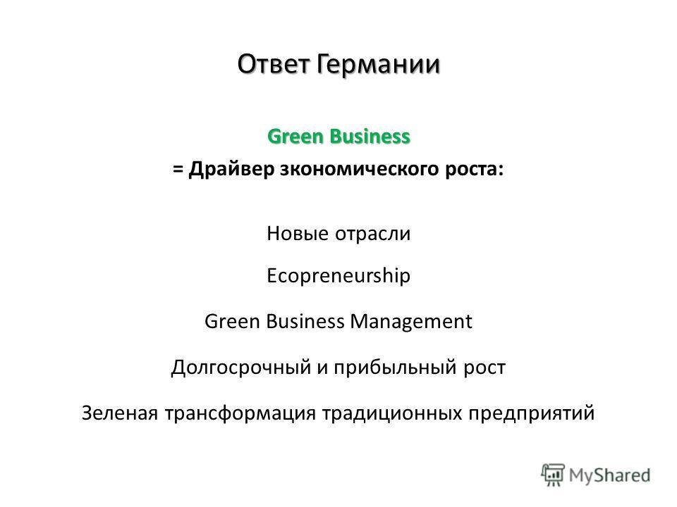 Ответ Германии Green Business = Драйвер зкономического роста: Новые отрасли Ecopreneurship Green Business Management Долгосрочный и прибыльный рост Зеленая трансформация традиционных предприятий