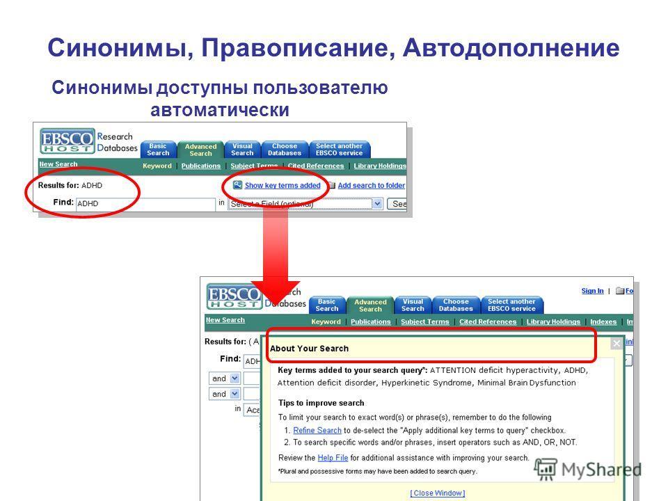 Синонимы доступны пользователю автоматически Синонимы, Правописание, Автодополнение