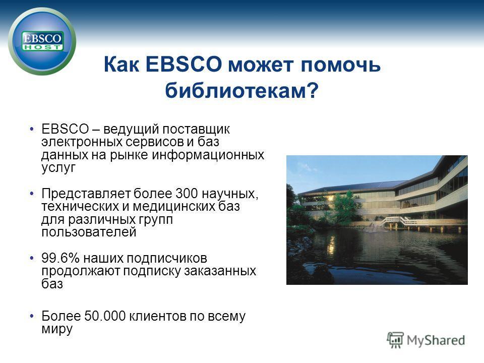 EBSCO – ведущий поставщик электронных сервисов и баз данных на рынке информационных услуг Представляет более 300 научных, технических и медицинских баз для различных групп пользователей 99.6% наших подписчиков продолжают подписку заказанных баз Более