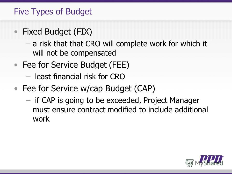 Five Types of Budget Fixed Budget (FIX) a risk that that CRO will complete work for which it will not be compensated Fee for Service Budget (FEE) least financial risk for CRO Fee for Service w/cap Budget (CAP) if CAP is going to be exceeded, Project