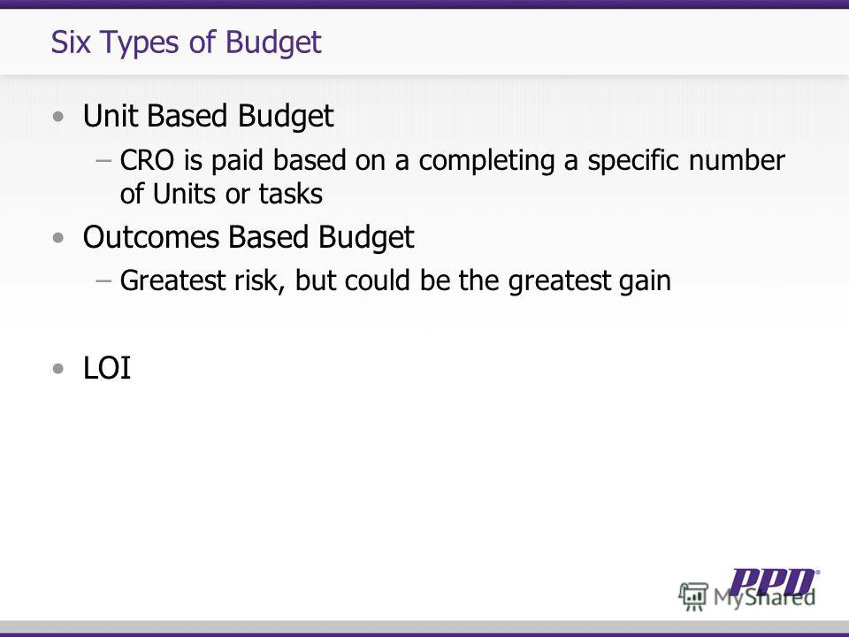 Six Types of Budget Unit Based Budget CRO is paid based on a completing a specific number of Units or tasks Outcomes Based Budget Greatest risk, but could be the greatest gain LOI