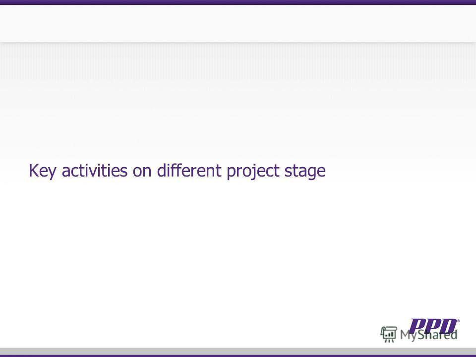 Key activities on different project stage