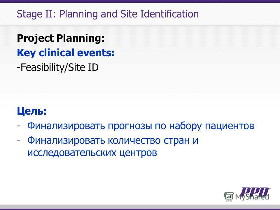 Stage II: Planning and Site Identification Project Planning: Key clinical events: -Feasibility/Site ID Цель: -Финализировать прогнозы по набору пациентов -Финализировать количество стран и исследовательских центров