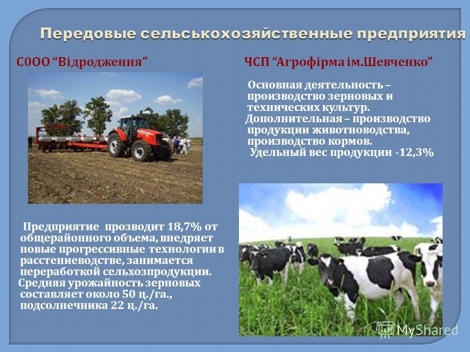 Передовые сельськохозяйственные предприятия С 0 ОО Відродження Предприятие прозводит 18,7% от общерайонного объема, внедряет новые прогрессивные технологии в расстениеводстве, занимается переработкой сельхозпродукции. Средняя урожайность зерновых сос