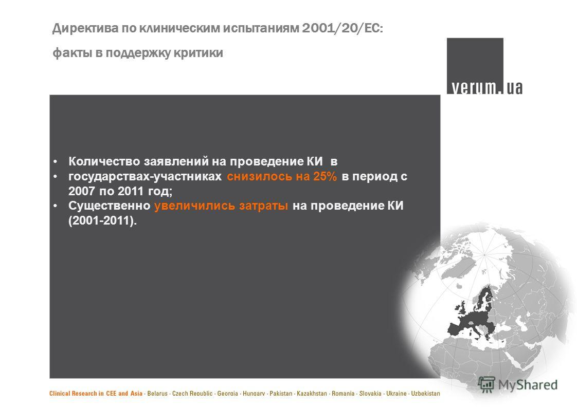 Директива по клиническим испытаниям 2001/20/ЕС: факты в поддержку критики Количество заявлений на проведение КИ в государствах-участниках снизилось на 25% в период с 2007 по 2011 год; Существенно увеличились затраты на проведение КИ (2001-2011).