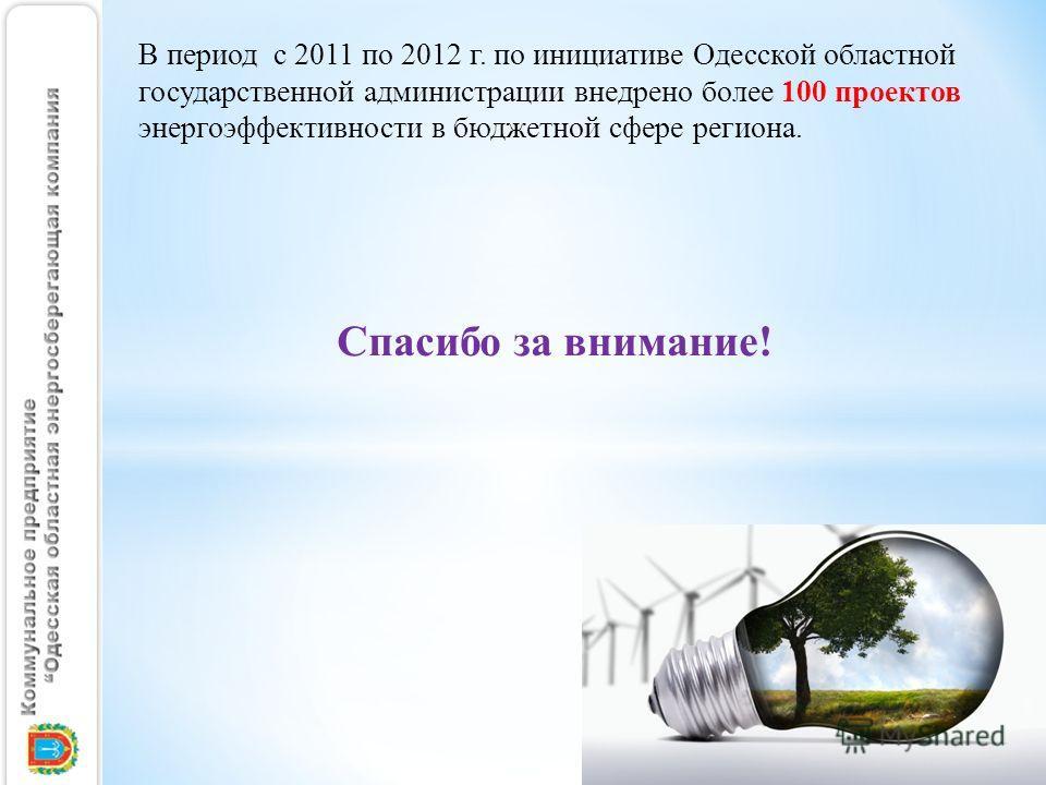 В период с 2011 по 2012 г. по инициативе Одесской областной государственной администрации внедрено более 100 проектов энергоэффективности в бюджетной сфере региона. Спасибо за внимание!