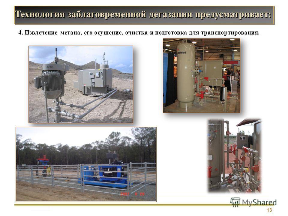 13 4. Извлечение метана, его осушение, очистка и подготовка для транспортирования. Технология заблаговременной дегазации предусматривает:
