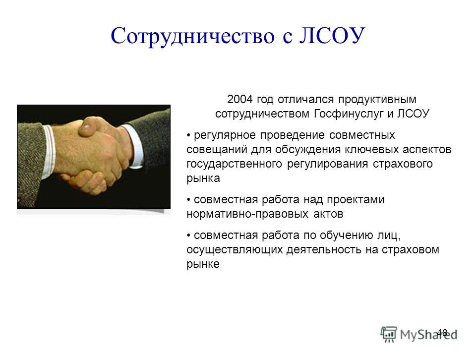 48 Сотрудничество с ЛСОУ 2004 год отличался продуктивным сотрудничеством Госфинуслуг и ЛСОУ регулярное проведение совместных совещаний для обсуждения ключевых аспектов государственного регулирования страхового рынка совместная работа над проектами но