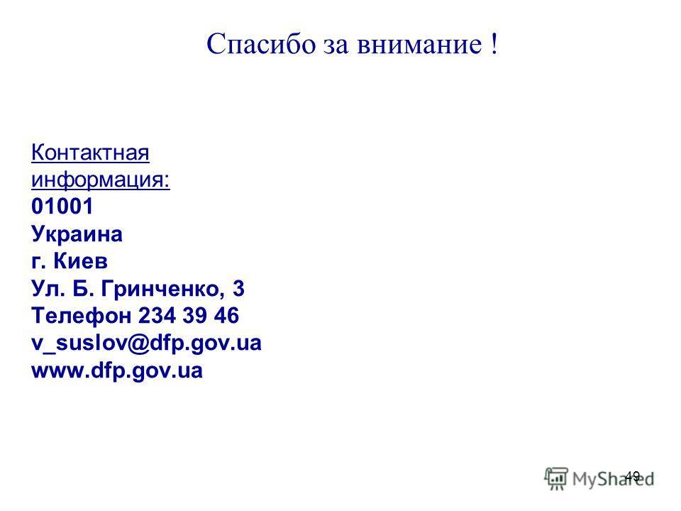 49 Спасибо за внимание ! Контактная информация: 01001 Украина г. Киев Ул. Б. Гринченко, 3 Телефон 234 39 46 v_suslov@dfp.gov.ua www.dfp.gov.ua