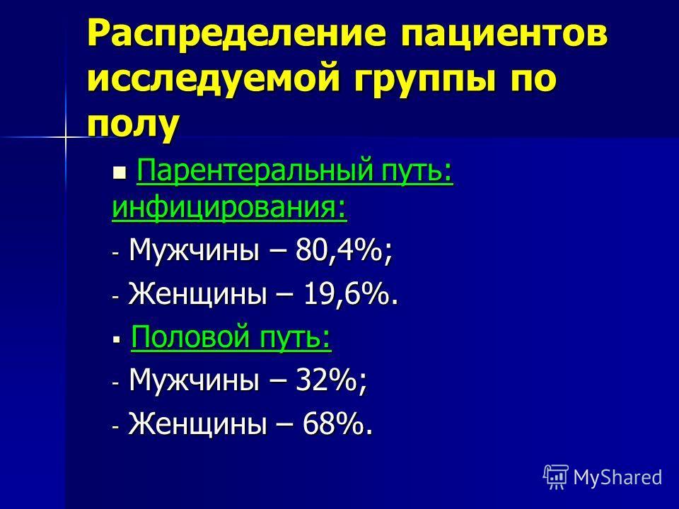 Распределение пациентов исследуемой группы по полу Парентеральный путь: инфицирования: Парентеральный путь: инфицирования: - Мужчины – 80,4%; - Женщины – 19,6%. Половой путь: Половой путь: - Мужчины – 32%; - Женщины – 68%.