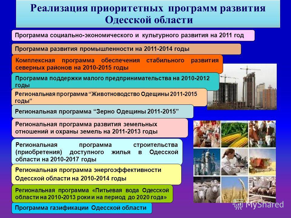 Программа социально-экономического и культурного развития на 2011 год Программа развития промышленности на 2011-2014 годы Комплексная программа обеспечения стабильного развития северных районов на 2010-2015 годы Программа поддержки малого предпринима
