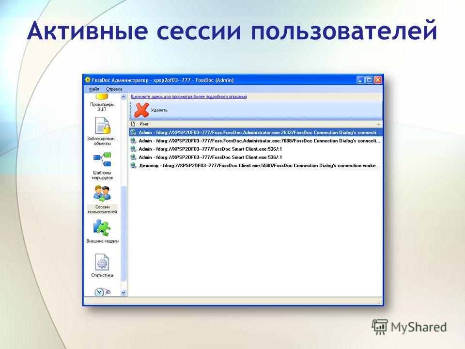 Активные сессии пользователей