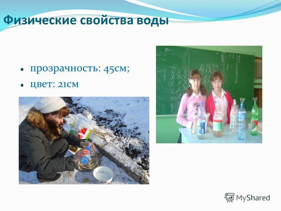 Физические свойства воды прозрачность: 45см; цвет: 21см
