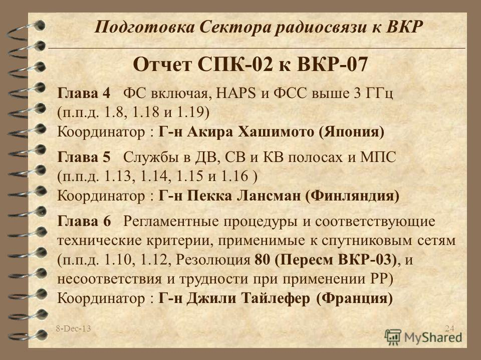 8-Dec-1324 Подготовка Сектора радиосвязи к ВКР Отчет СПК-02 к ВКР-07 Глава 5 Службы в ДВ, СВ и КВ полосах и МПС (п.п.д. 1.13, 1.14, 1.15 и 1.16 ) Координатор : Г-н Пекка Лансман (Финляндия) Глава 4 ФС включая, HAPS и ФСС выше 3 ГГц (п.п.д. 1.8, 1.18