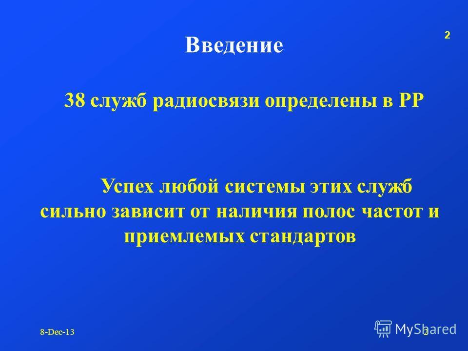 1 8-Dec-131 Исследования МСЭ-Р в области управления использованием спектра А. Налбандян Киев, 28 - 31 сентября 2003 г. Региональный семинар МСЭ «Принципы и методы планирования радиочастотного спектра и обеспечения ЭМС»