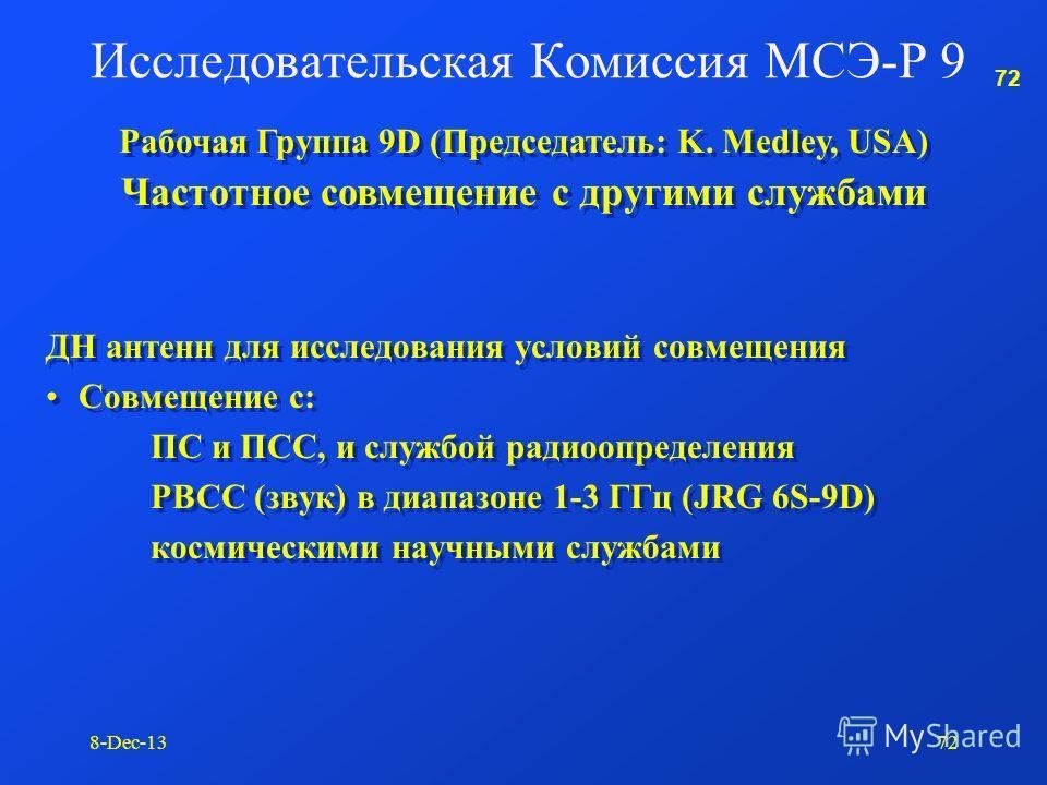 71 8-Dec-1371 Исследования для ВКР-07 (п.п.д. 1.13): Резолюция 729 (ВКР-97) – использование адаптивных систем в КВ и СВ полосах Адаптивные КВ системы Техника распределенного спектра в КВ диапазоне Симуляция широкополосного КВ канала Исследования для