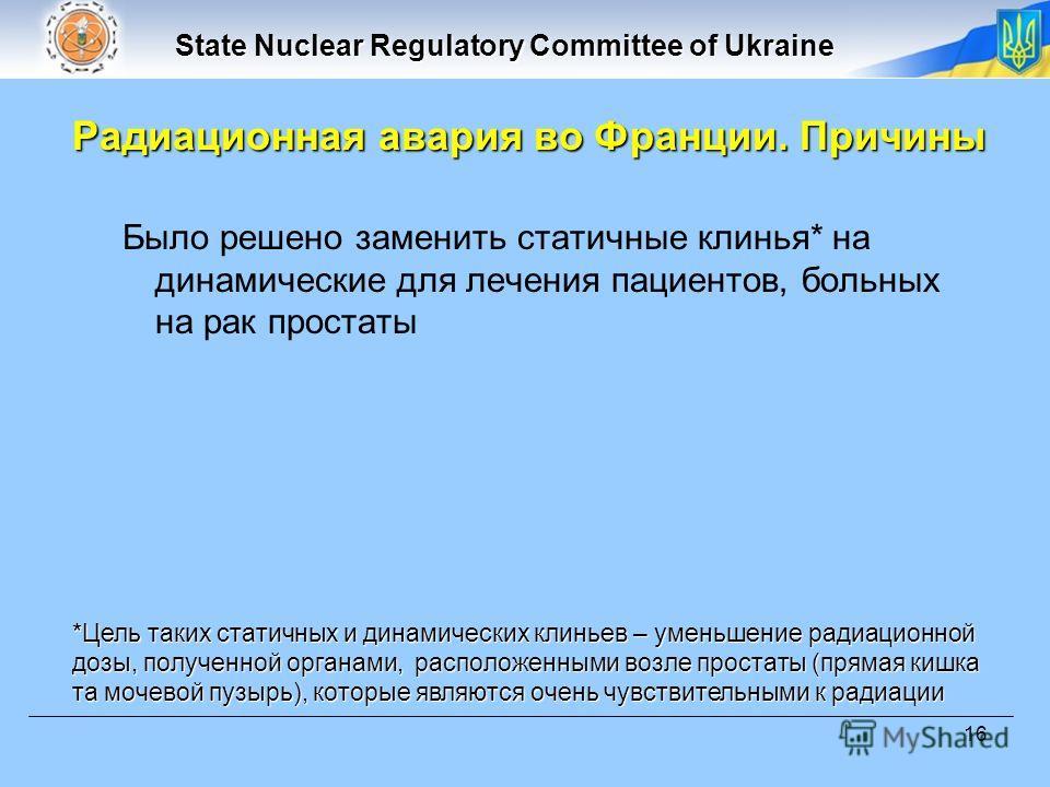 State Nuclear Regulatory Committee of Ukraine 16 Было решено заменить статичные клинья* на динамические для лечения пациентов, больных на рак простаты *Цель таких статичных и динамических клиньев – уменьшение радиационной дозы, полученной органами, р