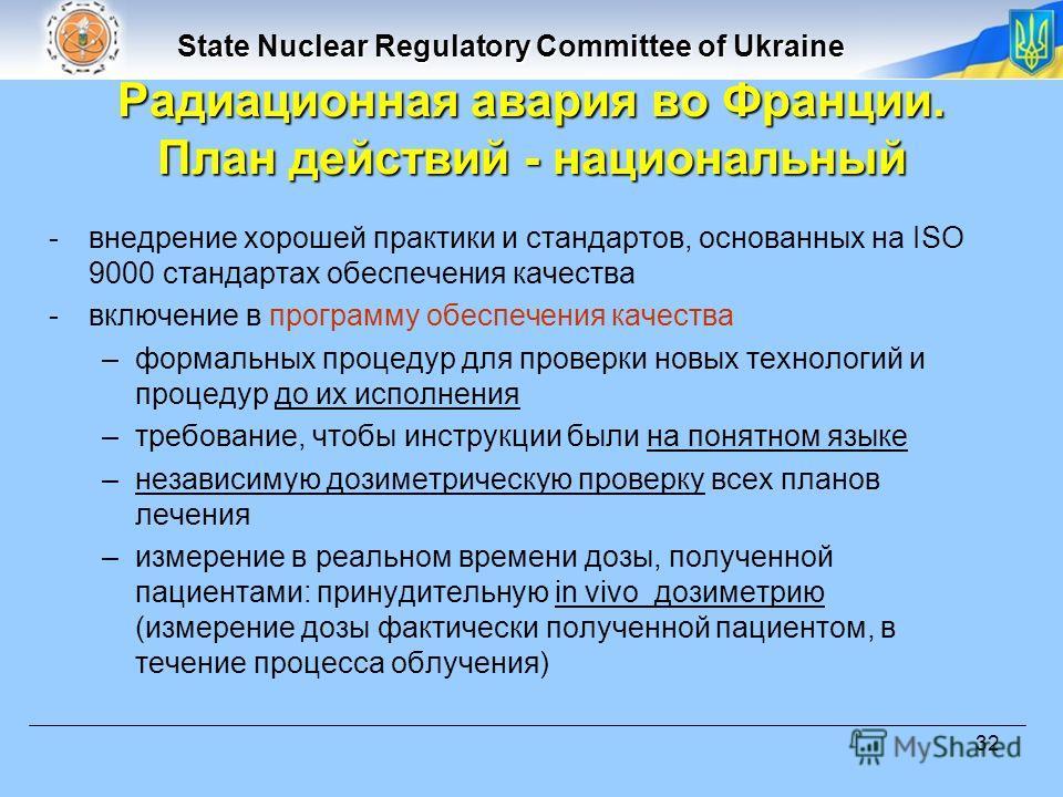 State Nuclear Regulatory Committee of Ukraine 32 -внедрение хорошей практики и стандартов, основанных на ISO 9000 стандартах обеспечения качества -включение в программу обеспечения качества –формальных процедур для проверки новых технологий и процеду
