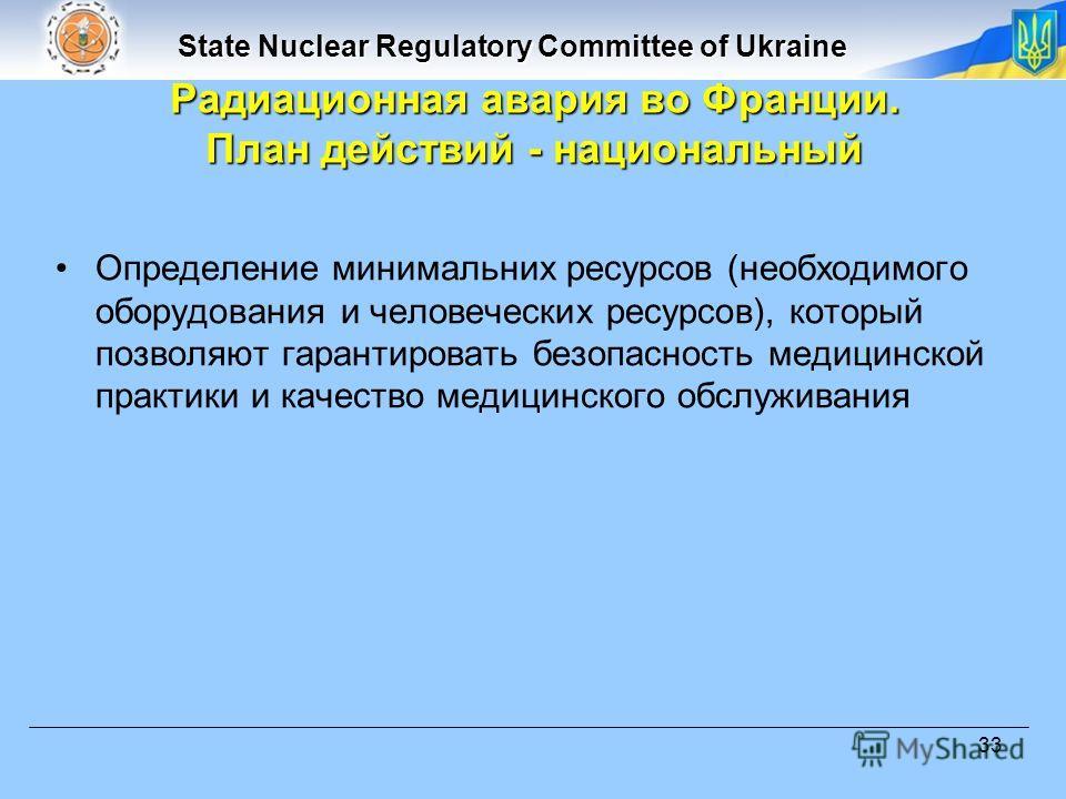 State Nuclear Regulatory Committee of Ukraine 33 Радиационная авария во Франции. План действий - национальный Определение минимальних ресурсов (необходимого оборудования и человеческих ресурсов), который позволяют гарантировать безопасность медицинск