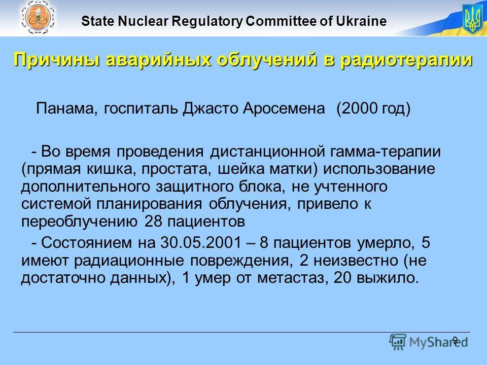 State Nuclear Regulatory Committee of Ukraine 9 Панама, госпиталь Джасто Аросемена (2000 год) - Во время проведения дистанционной гамма-терапии (прямая кишка, простата, шейка матки) использование дополнительного защитного блока, не учтенного системой